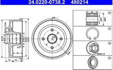 2x ATE Bremstrommeln Trasero 24.0220-0738.2
