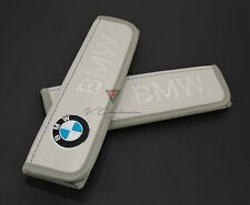 BMW Car Seat Belt Covers Shoulder Pads Gray Leather Embroidery Logo
