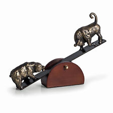 FIGURINES - BULL AND BEAR ON MOVEABLE WOODEN SEESAW STAND - STOCK MARKET
