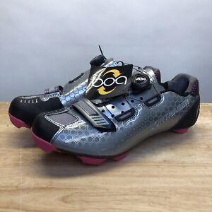Bontrager Mountain biking Shoes Women Tinari size 10.5 pink and silver