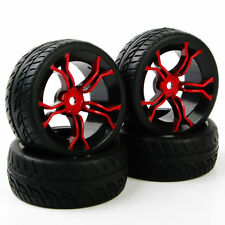 4X 1:10 Flat Tyres Tires&12mm Hex Wheels For HSP HPI RC On Road Model Car Run