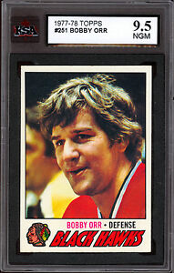 1977-78 TOPPS HOCKEY #251 BOBBY ORR KSA 9.5 N GEM MINT BLACK HAWKS BRUINS Card