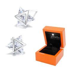 Dreieck Stern Zirkonia Ohrstecker Ohrstick aus 925 Silber + Luxus LED Schmuckbox