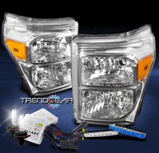 2011-2016 FORD F250 F350 F450 SUPERDUTY HEADLIGHT LAMP CHROME W/BLUE DRL LED+HID