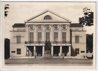 Ansichtskarte Weimar - Nationaltheater mit Goethe-Schiller-Denkmal -schwarz/weiß