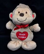 """Carters Just One You Monkey Brown Tan 10"""" Plush Red Heart Hugs And Kisses Lovey"""
