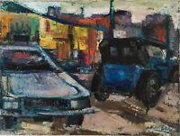 Oscar Pelosi,1969 Arte Moderna Dipinto olio su tela Paesaggio città automobili