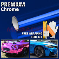 * Premium Blue Chrome Vinyl Wrap Sticker Decal Sheet Film Bubble Free 3 Layers