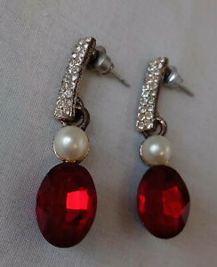 Clear Chaton and Red Marquis Stones Siam Red Long Drop Dangle Rhinestone Earrings Pierced
