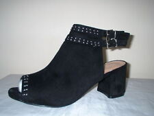 b99bbbdbaa0f BLACK FAUX SUEDE ANKLE CUFF BUCKLES STUDDED ZIP FASTEN EXTRA WIDE FIT SIZE  9 42