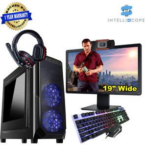 Fast Gaming PC Bundle 19W Webcam Intel Quad i5 16GB RAM 1TB HDD WIN10 2GB GT1030
