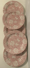 """5 x Burleigh Victorian Chintz Pink / Red & White Floral Rose 10.5"""" Dinner Plates"""
