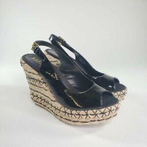 LRL Ralph Lauren Womens Talya Espadrilles Black Leather Platform Wedges 8 B New