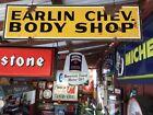 Vintage 1930's - 1940's Old Steel Earlin Chevrolet Dealership Body Shop Sign