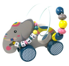 Schiebetier mit Motorikschleife Jungle Elefant mit Namensband ab 12 Monate