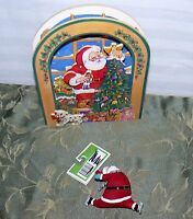 SAN FRANCISCO MUSIC BOX CO. WOOD ANIMATED & CHRISTMAS TREE ORNAMENT SANTA