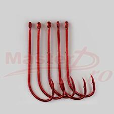 100X High Quality Long Shank Baitholder Fishing Hooks RED Size 4#,Fishing Tackle