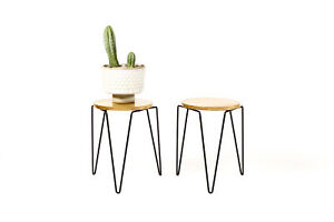 Mid Century Vintage Florence Knoll Model #75 Stacking Stool Side Tables -- Pair