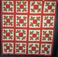 "Antique Applique Quilt Top, Wandering Foot, 1900, Machine Sewn 77"" x 77"""
