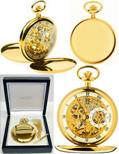 Jean Pierre Twin-Lid Hunter Skeleton Pocket Watch GP with Free Engraving (g250p)