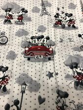 New listing Disney Mickey & Minnie Mouse Fabric 100% Cotton Paris Love Black And White