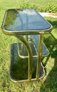 Vintage Milo Baughman Style mid century modern retro Chrome Glass Bar Tea Cart