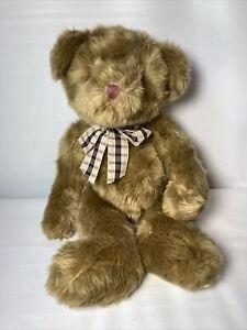 Vintage 1990's Russ Berrie Padsworth Bear Tan Honey Colored Shaggy Fur Plaid Bow