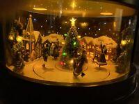 Plaid Tidings Holiday Animated Music box Victorian skaters Christmas 50 Songs