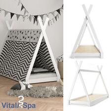 VITALISPA Kinderbett TIPI Indianer Bett Kinderhaus Holz Hausbett 90x200cm Weiß