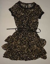 WOMEN'S XS, LEOPARD PRINT, SHEER, RUFFLE DRESS WITH SUEDE TIE BY CONVERSE!