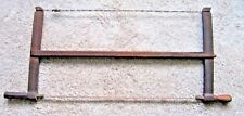 19thc Antique Handmade Bow Buck Saw Wood Primitive Mortised Carved Original 29""