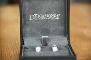 Diamond Cluster Stud Earrings set in 14Ct White Gold - 0.15 & 0.17 Carats G-H