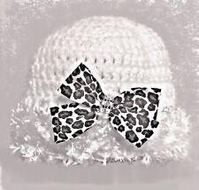 HANDMADE CROCHETED WHITE REBORN DOLL HAT GIRL berenguer american leopard print