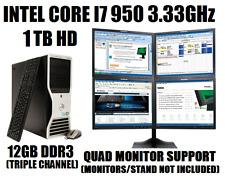 DELL 4-SCREEN TRADING COMPUTER CORE I7-950 3.33GHz w/12GB✓1TB HD✓WIN10 DESKTOP+