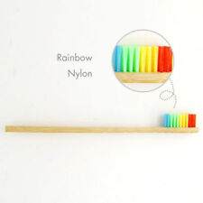 1x Colorful Head Bamboo Toothbrush Wooden Handle Rainbow Oral Care Soft Bristle