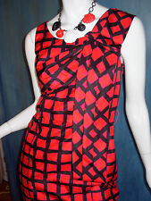 MARC Marc Jacobs RED Windowpane CHECK Retro SILK Bow SHEATH Wiggle Dress 2 S