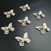 50pcs Wooden Butterflies Shape Craft Embellishments Scrapbook Wood Dec Arts T2K4
