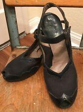 Vtg 30's 40's Vintage Navy Blue Peep Toe Pin-up Sling Back Shoes 6 B 1930s 1940s