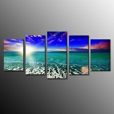 FRAMED Sun Blue Sky Green Sea Photographic Wall Art Print On Canvas Painting 5pc