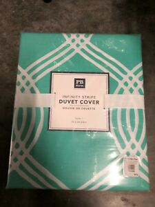 Pottery Barn Teen Rings Full Queen Duvet Cover Pink White Cotton New