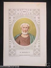 1879 SAN DAMASO I DAMASUS I ANTICA STAMPA CROMOLITOGRAFIA PAPA PAPI POPE D246 m