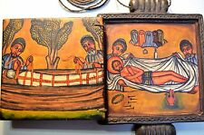 Ethiopian Christian Wooden Altar Hand Painted Religious Icon, Necklace, Ethiopia