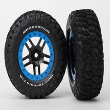 Traxxas 5883A KM2 Tire & Split-Spoke Black Wheel (Blue) (2) (Rear) Slash