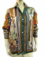 "Rare HERMES PARIS ""HENRY. F. SMITH SAILOR"" Scarf Print Silk Shirt Blouse 38/6-8"