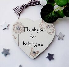 Thank you for Helping me Wooden Gift Heart 10cm x 10cm