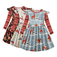 New 2-8Y Toddler Kids Baby Girl Christmas Casual Ruffle Long Sleeve Dress Outfit