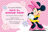Disney Minnie Mouse Custom Birthday Party Baby Shower Girl Invitation Printable