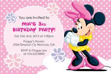 Disney Minnie Mouse Custom Birthday Party Baby Shower Girl Invitation Printable