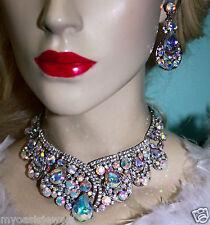 Rhinestone Necklace Earring Set Bridal Wedding Jewerly Prom Pageant AB