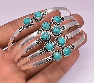 Turquoise Ethnic Cuff Bangle 925 Sterling Silver Plated 1pc Bracelet Jewellery